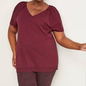 Lane Bryant burgandy knit blouse size 22/24 NWOT